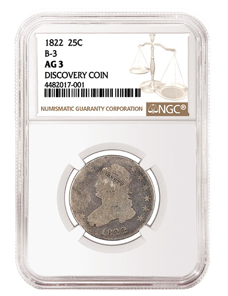 1822 25c NGC AG3 B-3 Variety Discover Coin