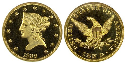United States 1839 Liberty Head $10 eagle Proof gold coin