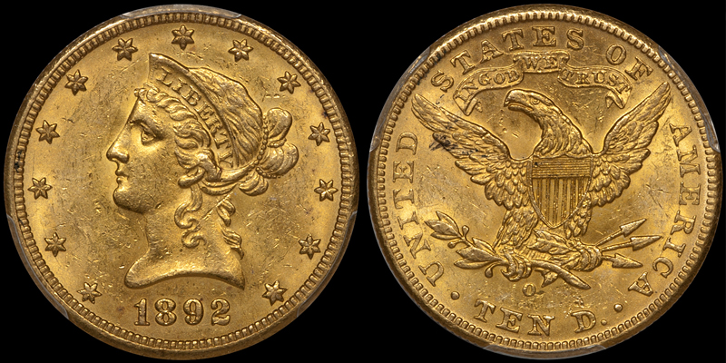 1892-O With Motto $10.00 Gold Eagle, PCGS MS62+ CAC. Images courtesy Doug Winter