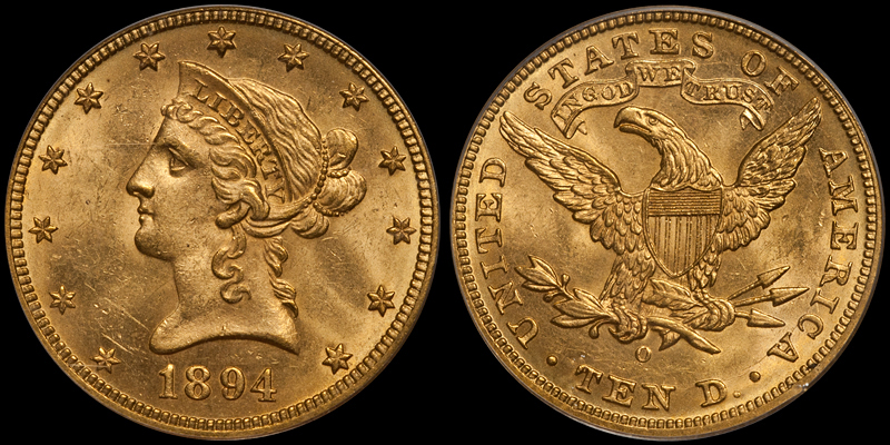 1894-O With Motto $10.00 Gold Eagle, PCGS MS63 CAC. Images courtesy Doug Winter
