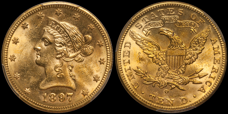 1897-O With Motto $10.00 Gold Eagle, PCGS MS63 CAC. Images courtesy Doug Winter