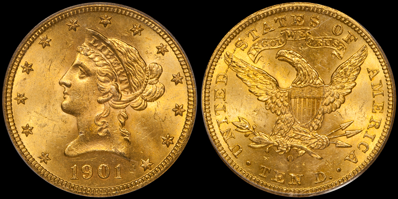 1901-O With Motto $10.00 Gold Eagle, PCGS MS64. Images courtesy Doug Winter