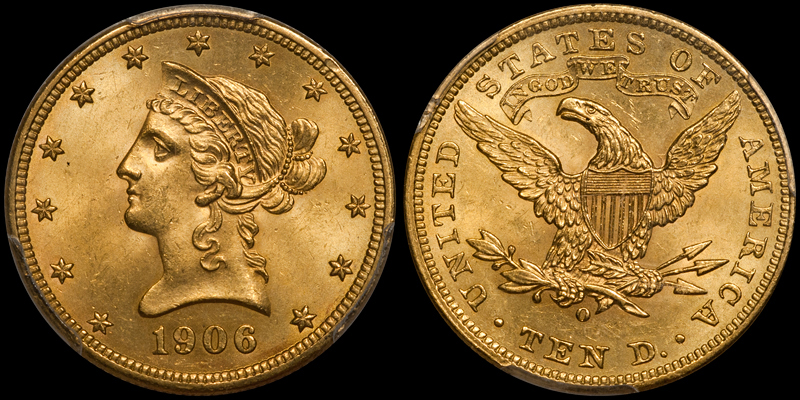 1906-O With Motto $10.00 Gold Eagle, PCGS MS64+ CAC. Images courtesy Doug Winter