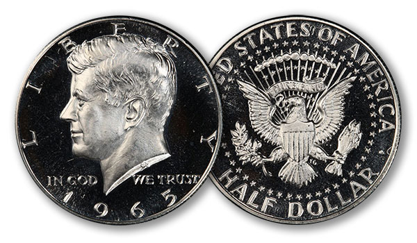 1965 Kennedy Half Dollar in PCGS SP67DCAM