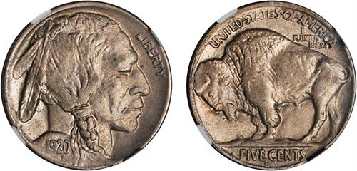 1920-D Buffalo Nickel. MS-63 (NGC). Images courtesy NGC