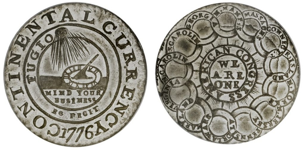 1776 pewter Continental Dollar. Images courtesy Spink USA