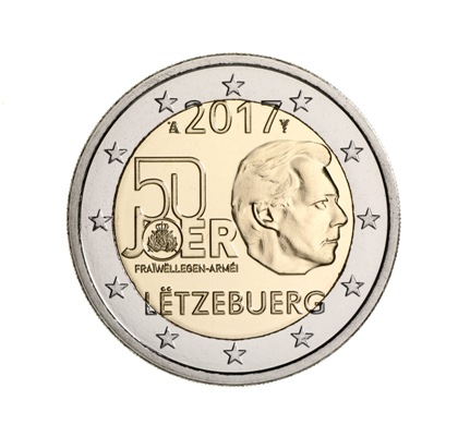 Luxembourg 2017 50th Anniversary of the Volunteer Luxembourg Army 2 euro bimetallic coin