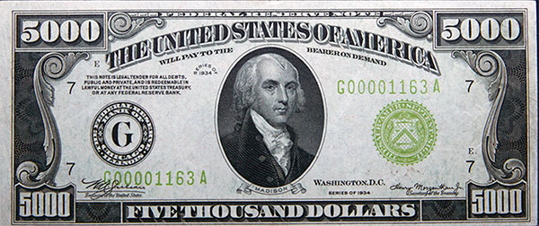 $5000 Federal Reserve Note - Goldberg Auctions