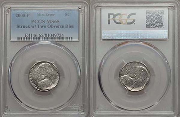 United States 2000-P Jefferson Nickel struck with two obverse dies in PCGS holder. Images courtesy Mike Byers and Mint Error News