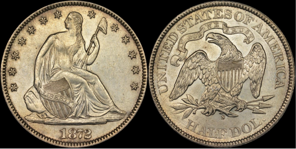 Counterfeit 1872-S Liberty Seated half dollar - Writer's example. Images courtesy NGC