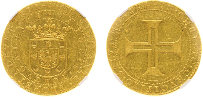The Netherlands 1640 10 dukat Portugaloser gold coin. Images courtesy Heritage Auctions