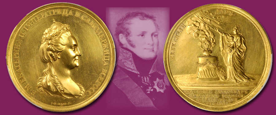 Russian Gold Medal of Alexander I. Images courtesy Stack's Bowers Auctions