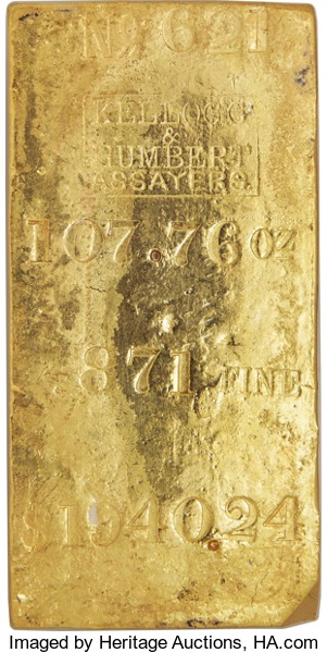 107.76-ounce Kellogg & Humbert gold ingot recovery from SS Central America shipwreck. Image courtesy Heritage Auctions