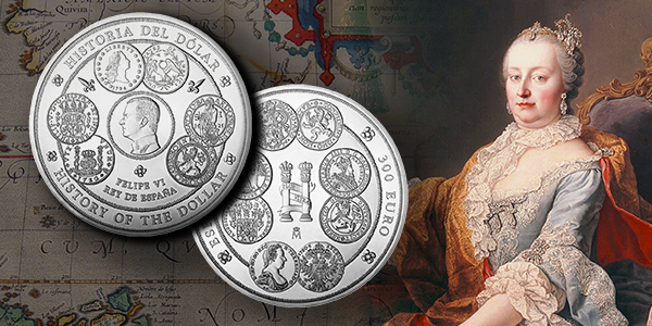 2017 History of the Dollar Silver Coin - Spain