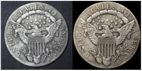 Reverse, raw example, 1807 dime