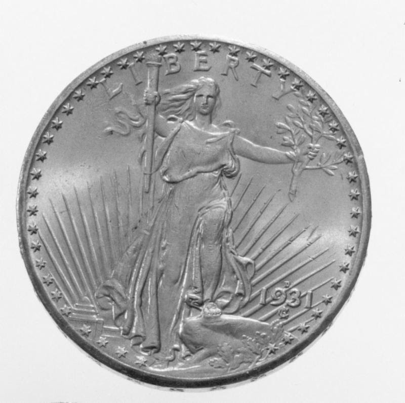 Saint-Gaudens $20 double eagle gold coin stolen from Swedish Royal Coin Cabinet. Image courtesy Doug Davis, NCIC