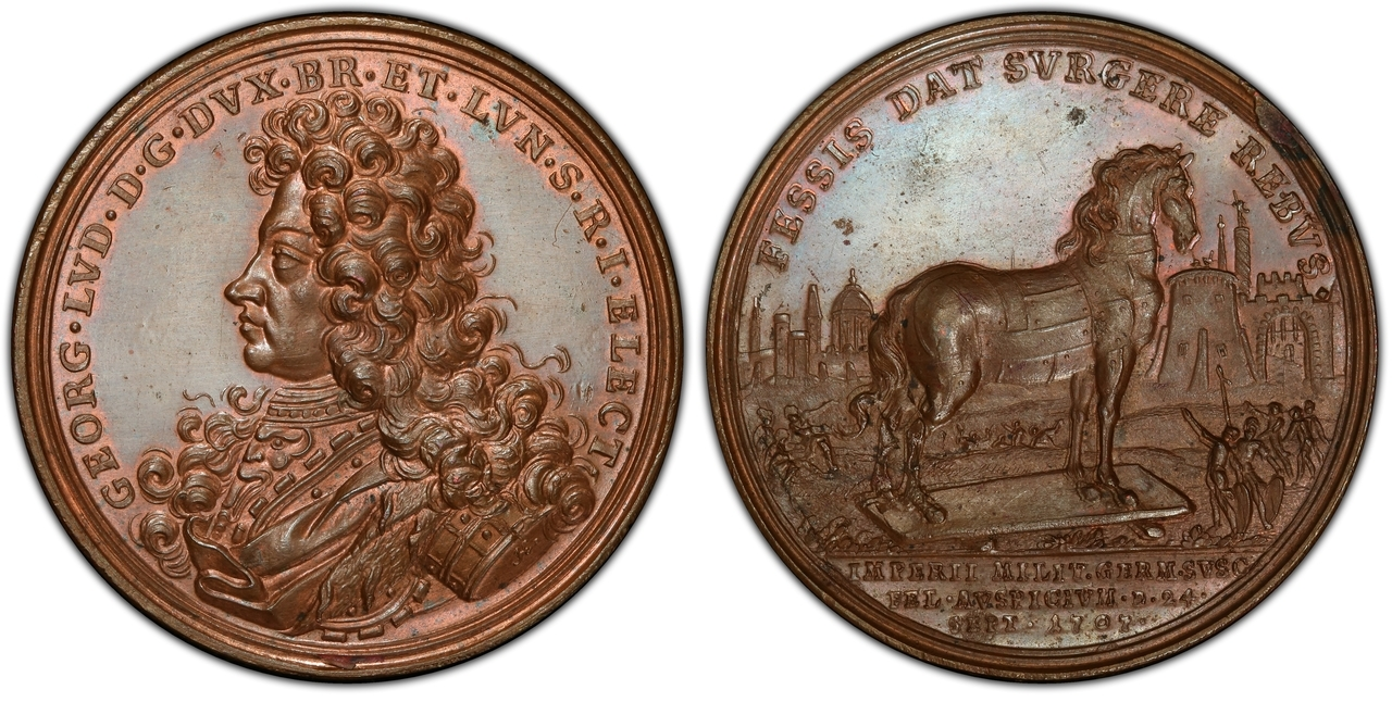 GREAT BRITAIN. George I. 1707 AE Medal. PCGS SP64. By P. H. Müller. Images courtesy Atlas Numismatics
