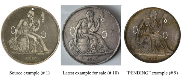 Comparison of source obverse with other items for sale. Images courtesy Jack Young