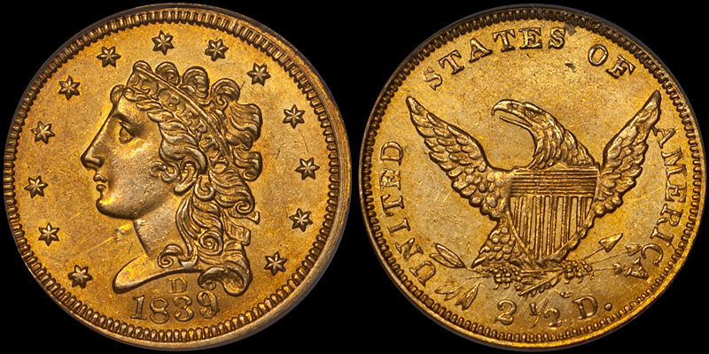 1839-D $2.50 PCGS MS62. Images courtesy Doug Winter