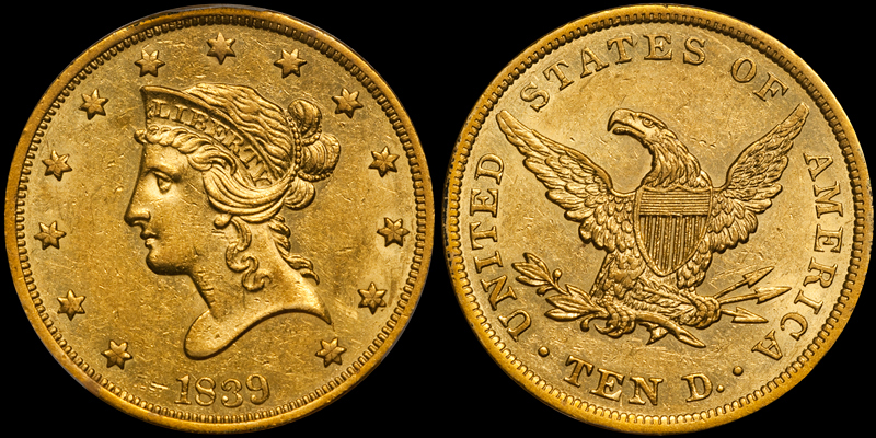 1839/8 $10.00 PCGS AU58. Images courtesy Doug Winter