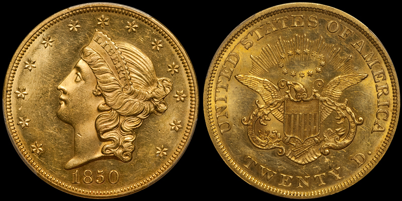 1850 $20.00 PCGS MS64+ CAC. Images courtesy Doug Winter