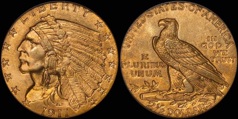 1911 $2.50 PCGS MS65 CAC. Image courtesy Doug Winter