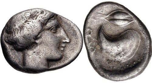 A didrachm from Cumae. Images courtesy Classical Numismatic Group, NGC
