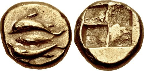 A 1/6-stater from Cyzicus. Images courtesy Classical Numismatic Group, NGC