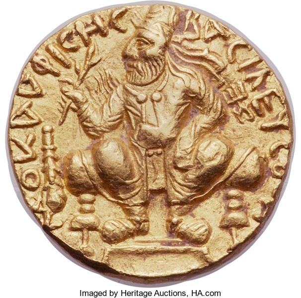 An ancient Kushan gold distater (double dinar) of Vima Kadphises. Image courtesy Heritage auctions