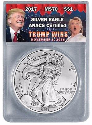 Trump Wins 2016 American Silver Eagle Hillary Clinton Balloon label from ANACS