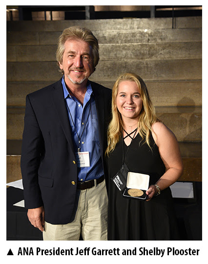 NA President Jeff Garrett alongside 2017 Young Numismatist of the Year Shelby Plooster. Photo courtesy American Numismatic Association