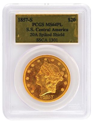 1857-S $20 gold double eagle PCGS MS64 PL SS Central America CAC