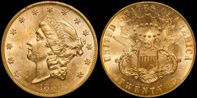 ONE OF TWO 1861 PAQUET DOUBLE EAGLES, GRADED PCGS MS61. Images courtesy Doug Winter