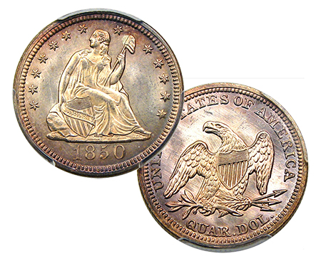 1850 Liberty Seated Quarter