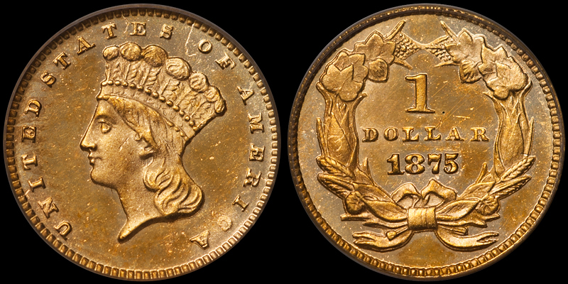 1875 $1.00 PCGS MS65 CAC, OLD GREEN HOLDER, EX VASQUEZ ROCKS COLLECTION. Images courtesy Doug Winter