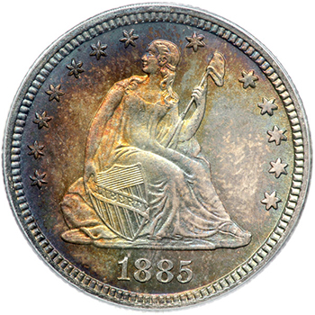 1885 Liberty Seated Quarter