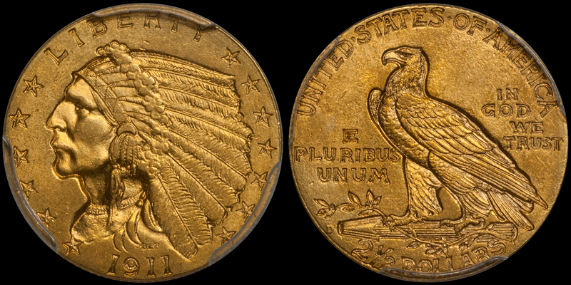 1911-D $2.50 PCGS MS64+ CAC. Images courtesy Doug Winter