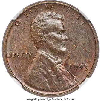United States 1943 Bronze Lincoln Cent. image courtesy HA.com