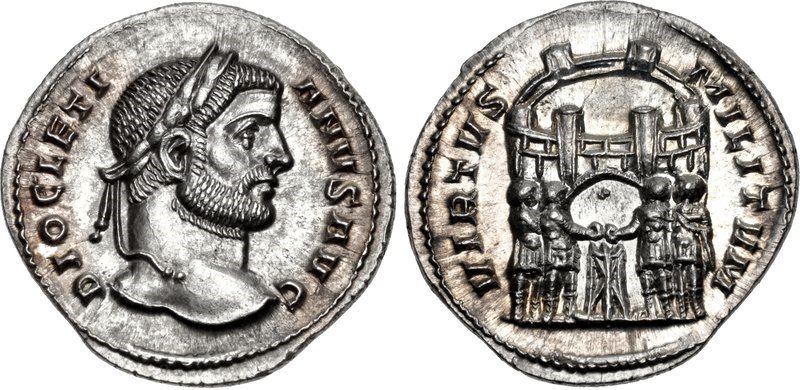 An argenteus of the emperor Diocletian, issued c.295 CE. Images courtesy CNG, NGC