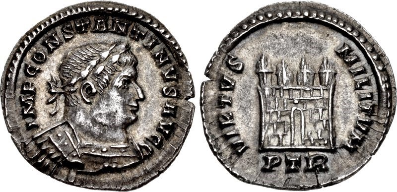 A half-argenteus of the emperor Constantine the Great, issued c.308-313 CE. Images courtesy CNG, NGC