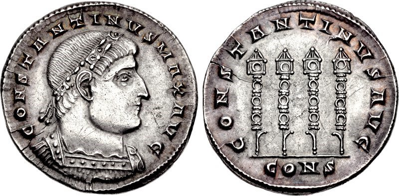 A miliarense of the emperor Constantine the Great, issued in 335 CE. Images courtesy CNG, NGC