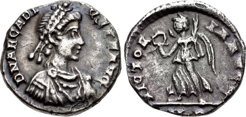 A half-siliqua issued by the emperor Arcadius in 402 CE. Images courtesy CNG, NGC
