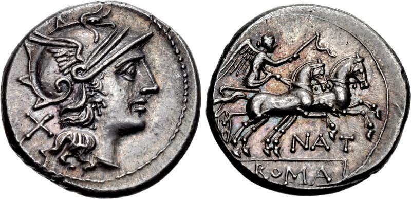 A denarius of c.155 B.C. issued by the moneyer Pinarius Nata. Images courtesy CNG, NGC