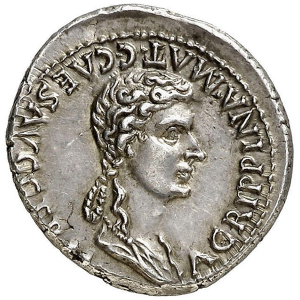 Reverse, Roman Imperial Silver Denarius of Caligula featuring Agrippina the Elder. Image courtesy Atlas Numismatics